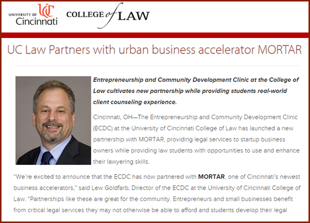 UC Law Partners with Urban Business Accelerator MORTAR