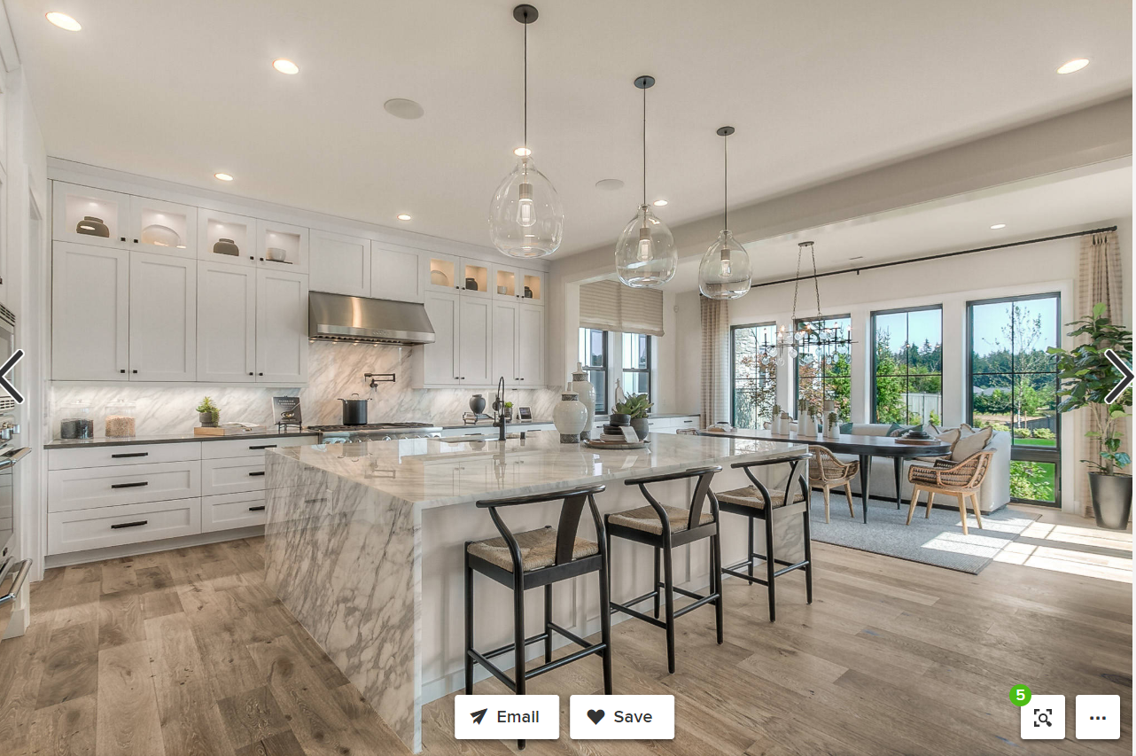 I am a creative. I love all design, but especially interiors. To give a peek at my style, I picked a kitchen where I love the design and I would love to cook in.