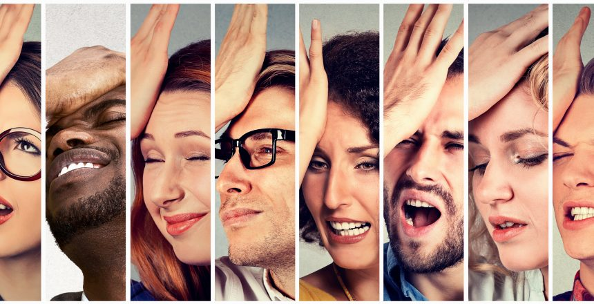 Multiethnic group of desperate regretful people men women slapping hand on head having duh moment. Human face expressions