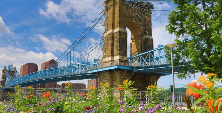 The John A. Roebling Bridge was built in 1866 to connect Covington Kentucky to Cincinnati , Ohio.  It spans the Ohio River.