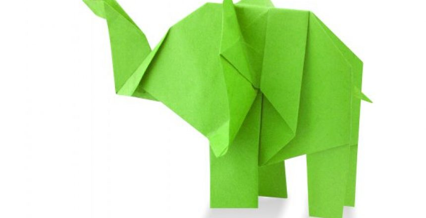 traditional elephant origami from recycled paper